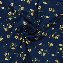 Tissu viscose fleuri Ornate - bleu nuit x 10cm