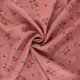 Tissu viscose fleuri Ornate - bois de rose x 10cm