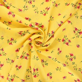 Tissu viscose fleuri Ornate - jaune x 10cm