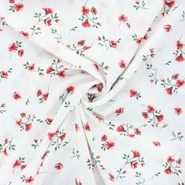 Tissu viscose fleuri Ornate - blanc x 10cm