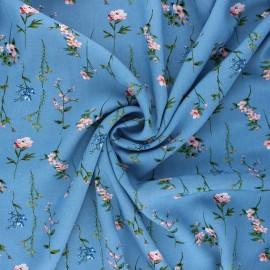 Tissu viscose fleuri Caeli - bleu houle x 10cm
