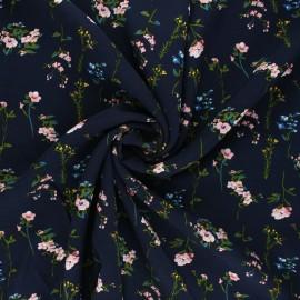 Tissu viscose fleuri Caeli - bleu nuit x 10cm