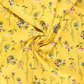 Tissu viscose fleuri Caeli - jaune x 10cm