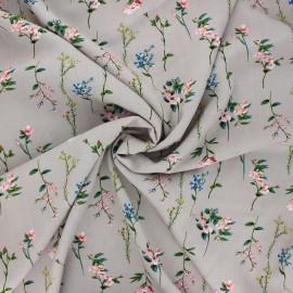 Tissu viscose fleuri Caeli - grège x 10cm