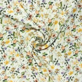 Tissu viscose fleuri Petit jardin d'été - écru x 10cm