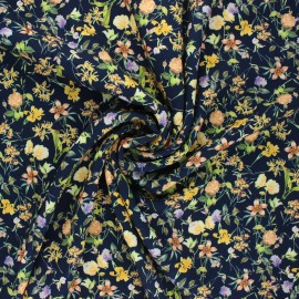 Tissu viscose fleuri Petit jardin d'été - bleu nuit x 10cm