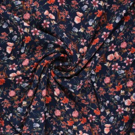 Tissu viscose fleuri Petit jardin d'été - bleu marine x 10cm