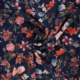 Tissu viscose fleuri Grand jardin d'été - bleu marine x 10cm