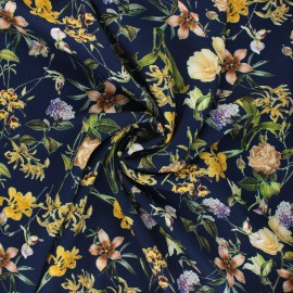 Tissu viscose fleuri Grand jardin d'été - bleu nuit x 10cm