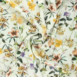 Tissu viscose fleuri Grand jardin d'été - écru x 10cm