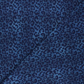 Printed Jersey fabric - midnight blue Faded leopard x 10cm