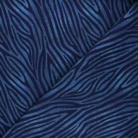 Printed Jersey fabric - midnight blue Faded zebra x 10cm
