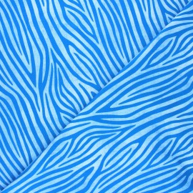 Printed Jersey fabric - light blue Faded zebra x 10cm
