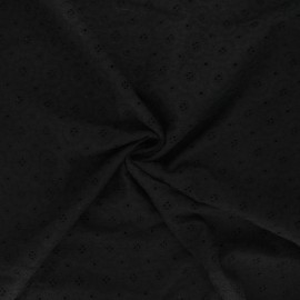 Openwork cotton voile fabric - black Coline x 10cm
