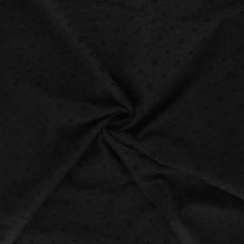 Tissu voile de coton broderie anglaise Coline - noir x 10cm