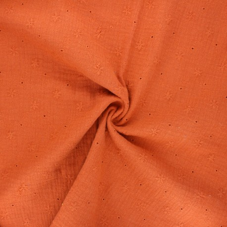 Embroidered double gauze cotton fabric - rust Andrée x 10cm