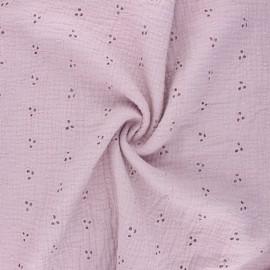 Tissu double gaze de coton brodé Emilienne - eau de rose x 10cm