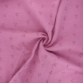 Embroidered double gauze cotton fabric - pink Emilienne x 10cm