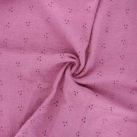 Tissu double gaze de coton brodé Emilienne - rose x 10cm