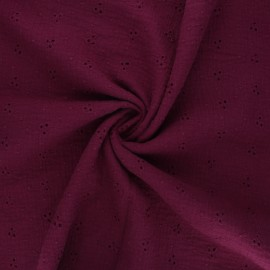 Embroidered double gauze cotton fabric - wine Emilienne x 10cm
