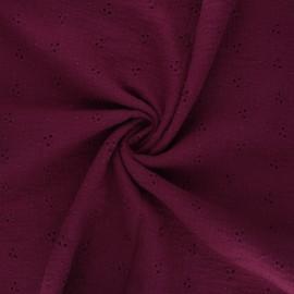 Tissu double gaze de coton brodé Emilienne - lie de vin x 10cm