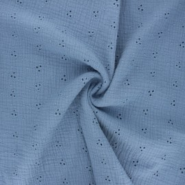 Embroidered double gauze cotton fabric - light blue Emilienne x 10cm