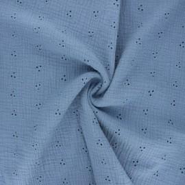 Tissu double gaze de coton brodé Emilienne - bleu clair x 10cm