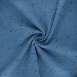 Embroidered double gauze cotton fabric - swell blue Emilienne x 10cm