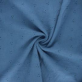 Tissu double gaze de coton brodé Emilienne - bleu houle x 10cm