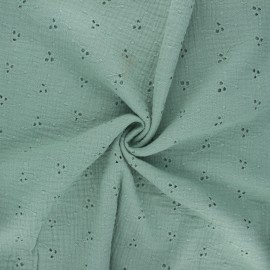 Embroidered double gauze cotton fabric - eucalyptus Emilienne x 10cm