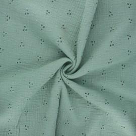 Tissu double gaze de coton brodé Emilienne - eucalyptus x 10cm