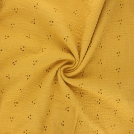 Embroidered double gauze cotton fabric - mustard yellow Emilienne x 10cm