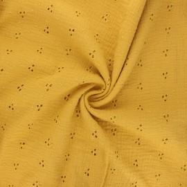 Tissu double gaze de coton brodé Emilienne - jaune moutarde x 10cm
