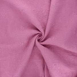 Embroidered double gauze cotton fabric - pink Nina x 10cm