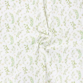 Double cotton gauze fabric - off-white Botanic love x 10cm