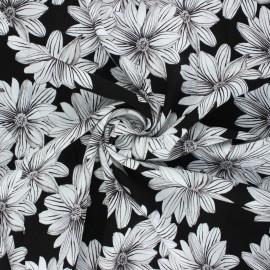 Crinkle viscose fabric - black Blossom x 10cm