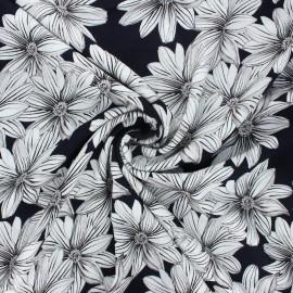 Crinkle viscose fabric - midnight blue Blossom x 10cm