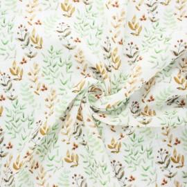 Double cotton gauze fabric - off-white Jardin d'automne x 10cm