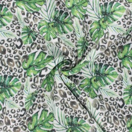 Double cotton gauze fabric - off-white Monstera leaves x 10cm