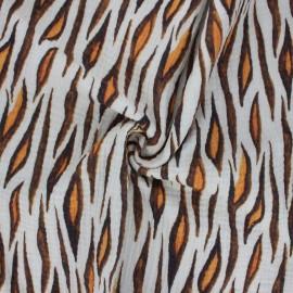 Double cotton gauze fabric - raw Tiger stripe x 10cm
