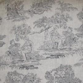 Tissu toile de Jouy Orangerie Gris