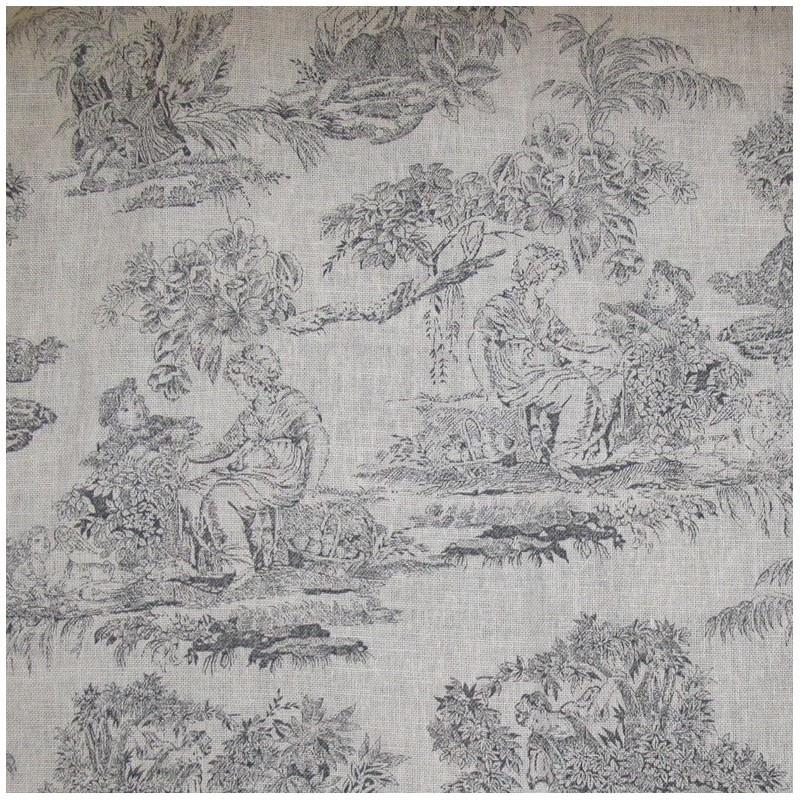 tissu toile de jouy orangerie gris x 10cm ma petite mercerie. Black Bedroom Furniture Sets. Home Design Ideas