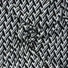 Viscose crepe fabric - black Geometrica x 10cm