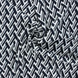Tissu crêpe de viscose Geometrica - bleu nuit x 10cm