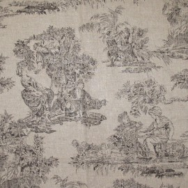 Toile de Jouy Fabric - Orangerie Brown x 10cm
