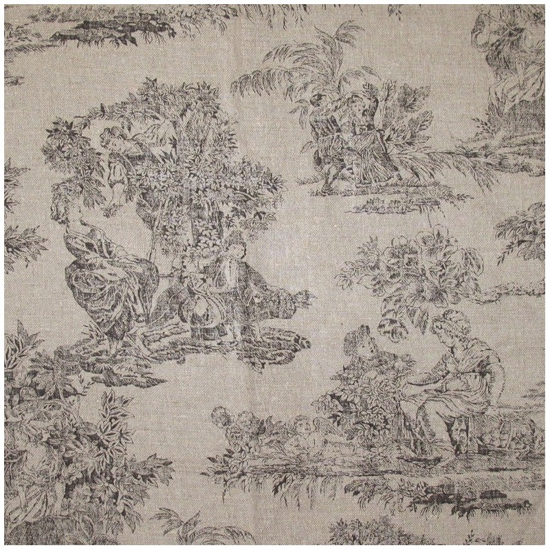 Toile De Jouy Fabric Orangerie Brown X 10cm Ma Petite