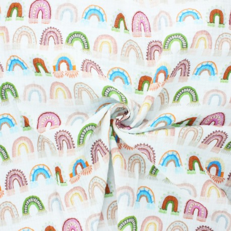 Tissu double gaze de coton Boho rainbow - blanc cassé x 10cm