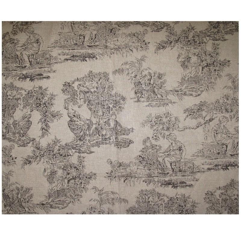 tissu toile de jouy orangerie brun x 10cm ma petite mercerie. Black Bedroom Furniture Sets. Home Design Ideas