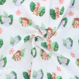 Double cotton gauze fabric - off-white Friends club x 10cm