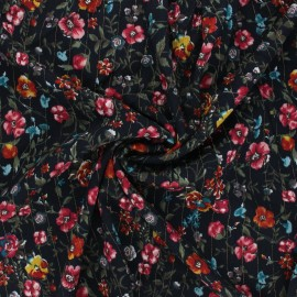 Lurex viscose crepe fabric - midnight blue Aline x 10cm
